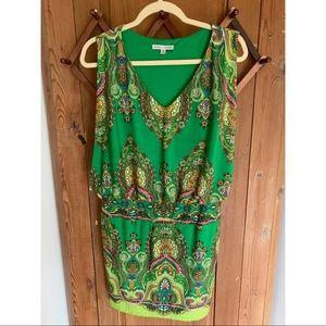 Sandra Darren green paisley sleeveless dress